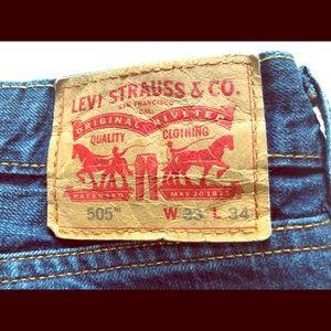 LEVI'S Men's Denim Jeans 505 33/34 dark faded wash